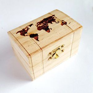 World Map Small Wooden Box, Traveling Memento gift